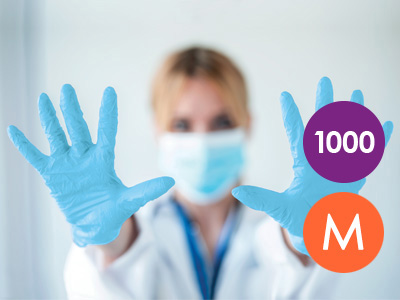 1000 Medium Nitrile Blue Non-Powdered Disposable Gloves