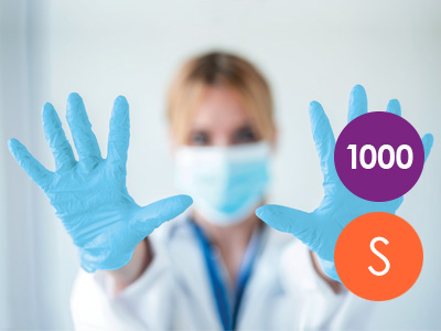 1000 Small Nitrile Blue Non-Powdered Disposable Gloves
