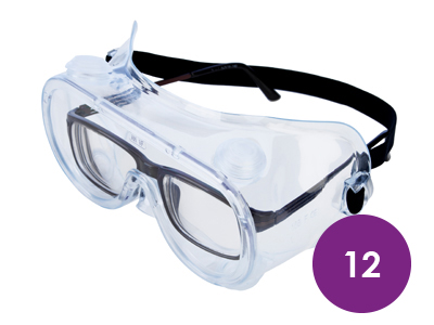 12 x Lightweight Safety Goggles