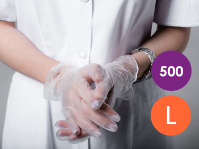 500 x Large PVC Transparent Non-Powdered Disposable Gloves
