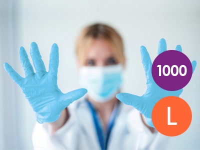 1000 Large Nitrile Blue Non-Powdered Disposable Gloves