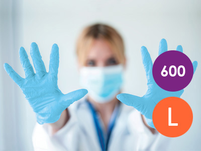 600 Large Nitrile Blue Non-Powdered Disposable Gloves