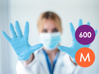600 Medium Nitrile Blue Non-Powdered Disposable Gloves
