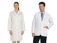 Two people in White Lab Coats and Jackets